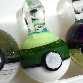 Glass Pokeball Pendant (Slyme, Sublime, Millenium Moss solid encalmo)