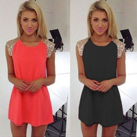 Fashionable Summer Party Club Women Sequin Low Cut Neck Sleeveless One Piece Dress b4090