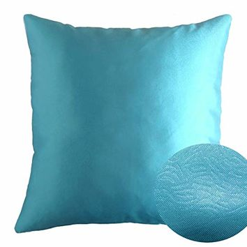 "Cyan Blue 16"" x 16"" Decorative Textured Satin Cushion Cover Throw Square Pillowcase for Chair Sofa Living Room Accent Pillow"