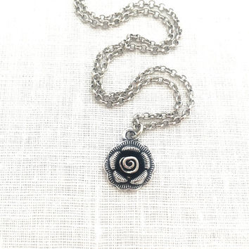 Silver Rose Necklace, Metal Rose Flower Charm, Gardener Gifts, For Girlfriend Love You More