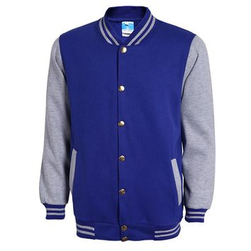 Classic Blue Varsity Baseball Jacket Men Veste Homme Autumn Fashion Brand Slim Fit Bomber College Jackets Cotton Jacket