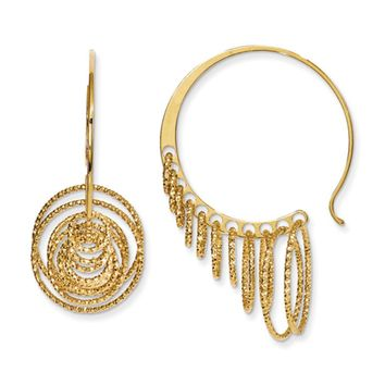 Laser Cut Chandelier Circle Threader Hoop Earrings, Gold Tone Silver