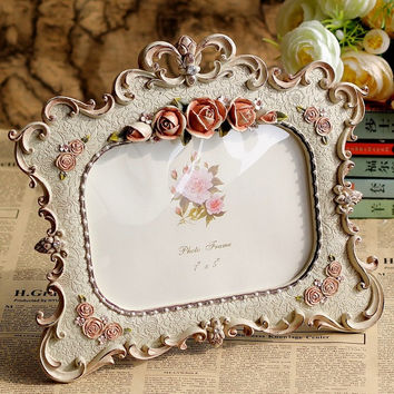 Retro Vintage Gray Flower Home Decoration Photo Frame Picture Frame Resin 5'' x 7''