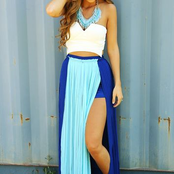 pleated peace maxi skirt royal blue baby from s new