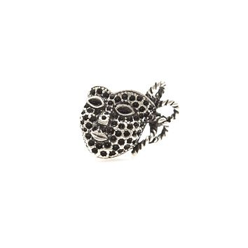 Mask Antique Silver Plated Ring Adjustable