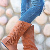 In The Fringe Zone Boots - Rust