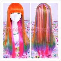 L-email Womens Long Straight Cosplay Wig Rainbow