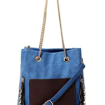 Blue Handbag with Chunky Chain Strap