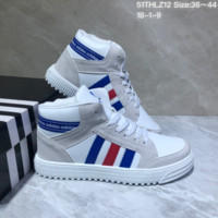 KUYOU A441 Adidas Originals Forum Mid Suede Leather Fashion Skate Shoes White Gray Blue Red