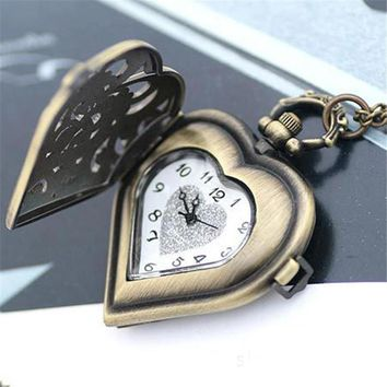 Relogio Fashion Hollow Heart-Shaped Pocket Watch Women Men Necklace Pendant Chain Fob Watches Mens Retro Quartz Watch Reloj