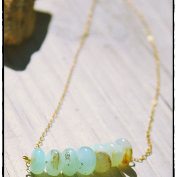 Moss Ombre Peruvian Opal Necklace Dainty Chain Lobster Clasp Beach Surfer Minimalist Yoga Jewelry