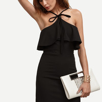Black Ruffle Tie Front Sheath Dress