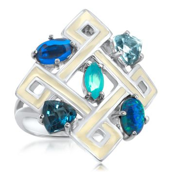 875 Silver Ring with Blue Chalcedony, Blue Topaz, Blue Opal, Blue Corundum, Yellow Enamel