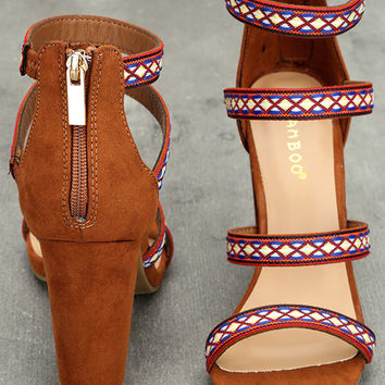 Mariko Chestnut Suede Embroidered Caged Heels