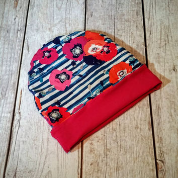 Floral Stripes Slouchy Hat Slouchy Beanie