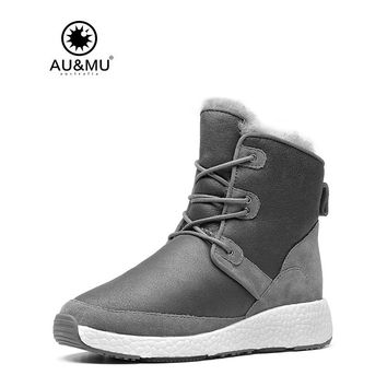 2017 AUMU Australia Women Male Classic Short Sheepskin Lace Up Suede Winter Snow Boots UG NY109