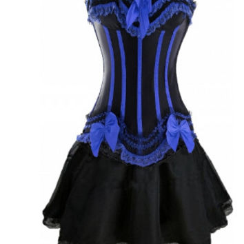 free shipping Gothic Burlesque Corset & skirt Fancy dress Hen Party Halloween Costume