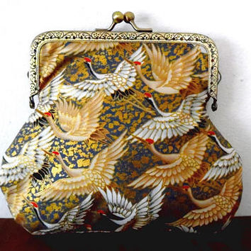 Migrating cranes purse / metallic / gold / cream / blue / red / gift / bronze tone / embossed / lined / feather print / large clasp purse