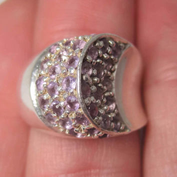 Vintage Sterling Amethyst Crescent Moon Ring Size 6