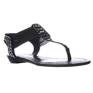 madden girl Triixie Flat T-Strap Thong Sandals - Black