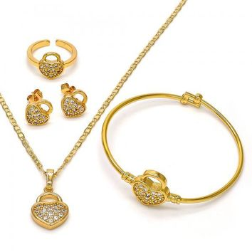 Gold Layered 06.228.0011 Earring and Pendant Children Set, Lock and Mariner Design, with White Micro Pave, Polished Finish, Gold Tone