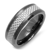 Black Ceramic Men's Ladies Unisex Ring Wedding Band 8MM Flat Polished Shiny Beveled Edge White Carbon Fiber Inlay Comfort Fit (Available in Sizes 8 to 12) size 11