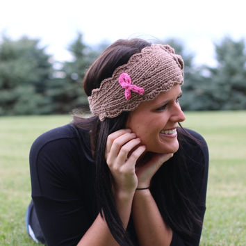 Breast Cancer Awareness Knitted Headband with Flower