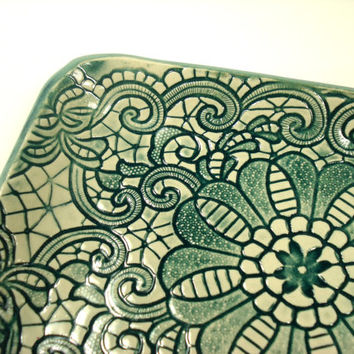 Teal Lace Dish, Teal Home Decor, Candy Dish, Teal Trinket Dish, Ceramic Jewelry Dish, Teal Pottery Dish, Lace Plate,Teal Bathroom,Teal Plate