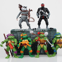 6pcs/set Teenage Mutant Ninja Turtles Anime Cartoon TMNT Action Figure Toys Dolls Toys boys christmas gifts