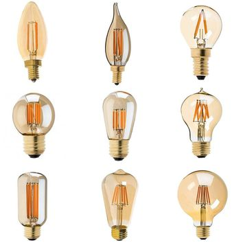 Dimmable Vintage LED Filament Bulb Golden Tint C35 C32T A19 T45 ST45 ST64 G40 G95 G125 Retro lamp 110V-130V 220V-240V AC