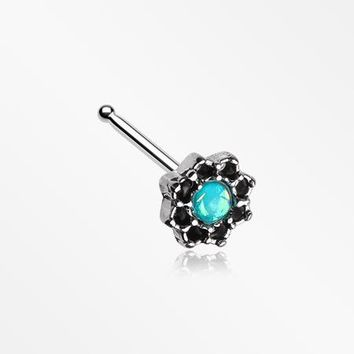 Lotus Opal Sparkle Filigree Icon Nose Stud Ring