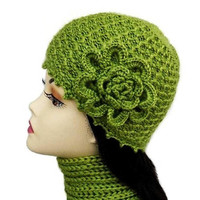 Кnit Hat Olive Green with Crochet Flower beanie Women hat
