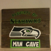 SEAHAWKS Man Cave Sign Reclaimed Barn Wood