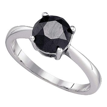 10kt White Gold Women's Round Black Color Enhanced Diamond Solitaire Bridal Wedding Engagement Ring 2.00 Cttw - FREE Shipping (USA/CAN)