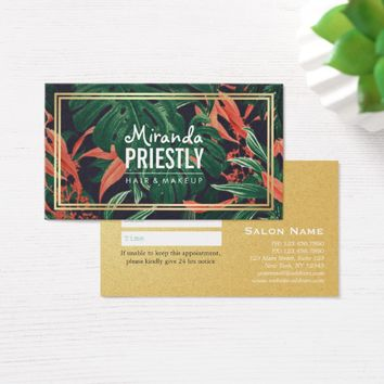 Elegant Floral Gold Frame Makeup Salon Appointment Business Card