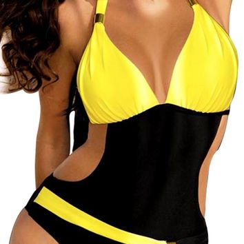 Chicloth Hanging Neck One Piece Waist Exposed Swimsuit