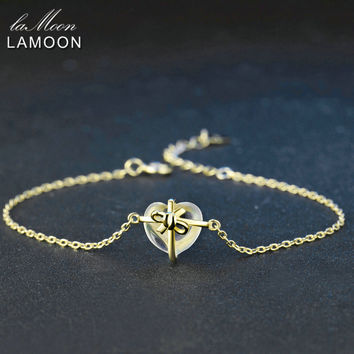 Lamoon Romantic Heart Natural Citrine 925 Sterling Silver Jewelry 14K Yellow Gold Chain Charm Bracelet S925 LMHI048