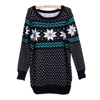 Vintage Women's Christmas Snowflake Print Loose Pullover Knitted Sweater Jumper