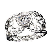 Avon: Sterling Silver Filigree Lace CZ Ring