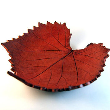 Ceramic Grape Leaf Autumn Decorative Bowl - handbuilt earthenware pottery with a red brown leather like wax finish