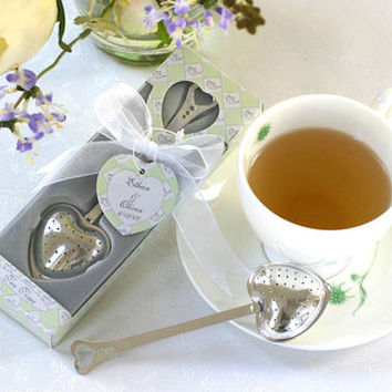 24 Heart Shaped Tea Infuser Bridal Wedding Favors in Gift Box