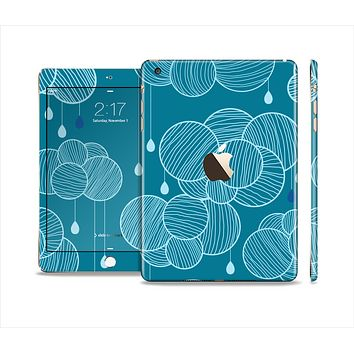The Teal Abstract Raining Yarn Clouds Full Body Skin Set for the Apple iPad Mini 3