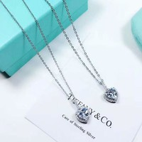 Tiffany New fashion love heart diamond sterling silver women necklace Silver