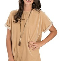 Wishlist Women's Beige Velvet Short Sleeve Fashion Shirt