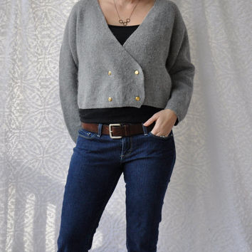 80s LAMBSWOOL & ANGORA Gray Crop Sweater/ Preppy Double Breasted Gold Buttons/ Short Fit Wrap Cardigan/ Angora Winter Sweater/ Medium. Large
