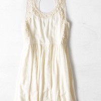 AEO Women's Lace Cutout Fit & Flare Dress (Cream)