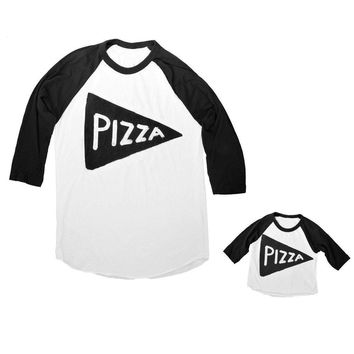 Father Son Daughter Matching Family Pizza Slice Baseball Jersey Shirt Set