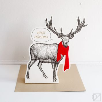 Merry Christmas Pop-Up Animals Greeting Cards