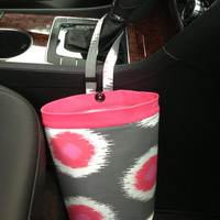 CLOSEOUT SALE 30 % OFF Car Trash Bags, Pink Domino Flamingo , Car Litter Bag, Car Accessories, Car Caddy, Women, Auto Litter Bag