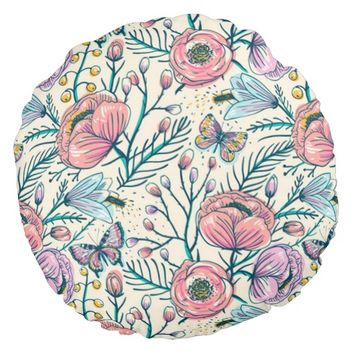 Chic Vintage Pink Rose Flower Round Pillow